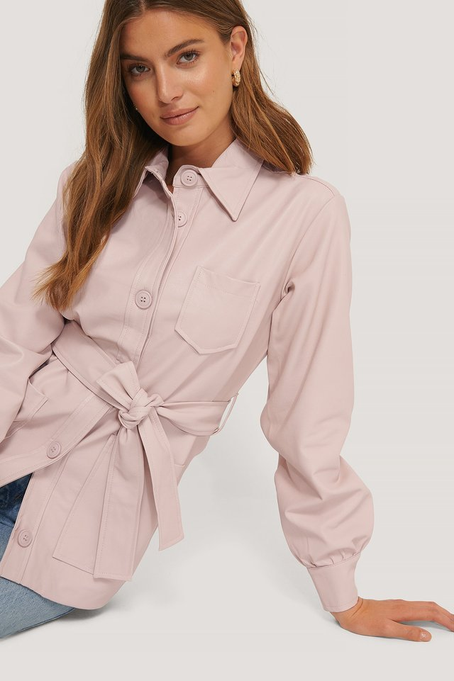 Dusty Pink Balloon Sleeve Tied Waist Pu Jacket