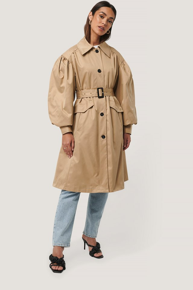 Balloon Sleeve Trench Coat Beige