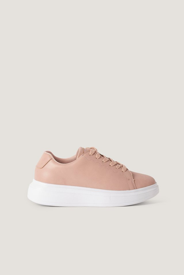Dusty Pink Basic Court Trainers