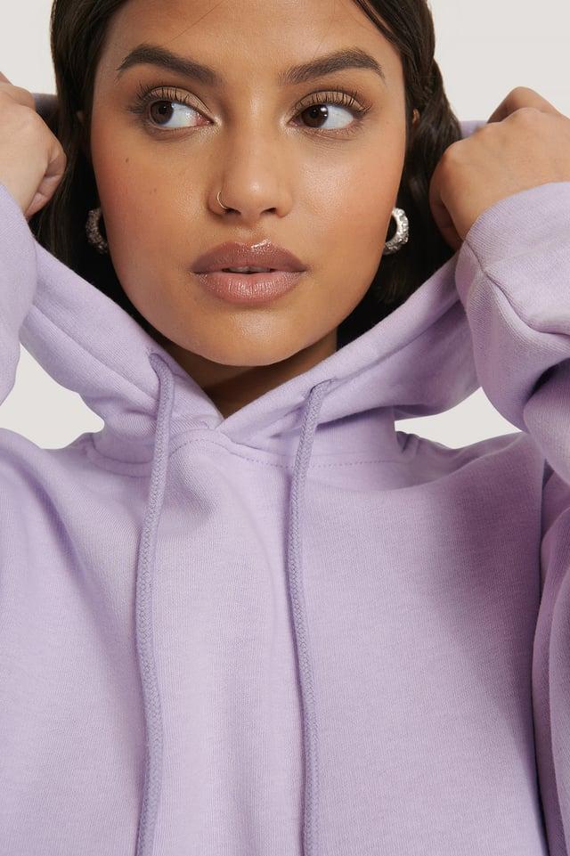 Biologique Hoodie Court Basique Light Purple