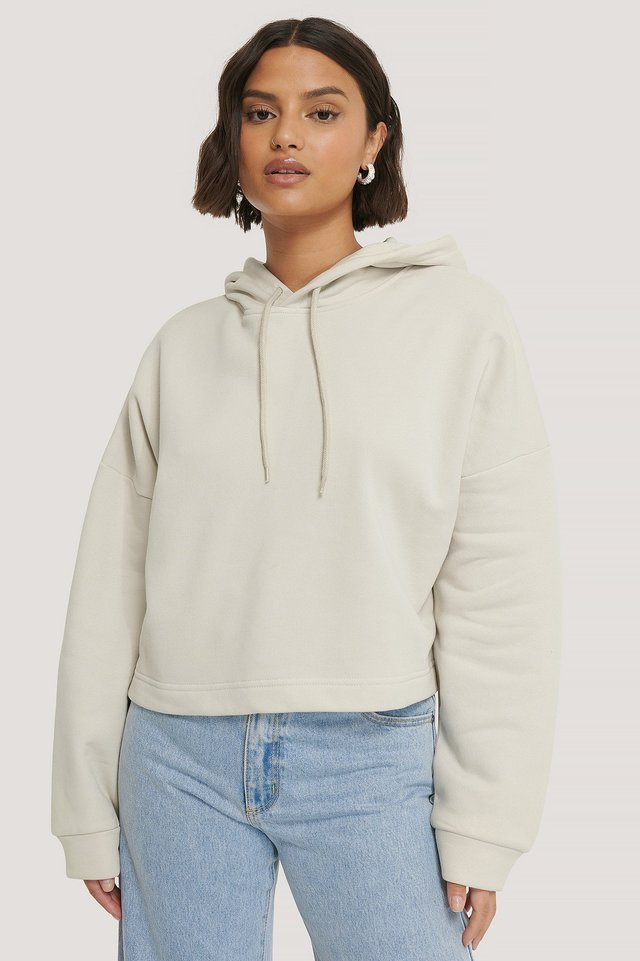 Dusty Light Beige Biologique Hoodie Court Basique