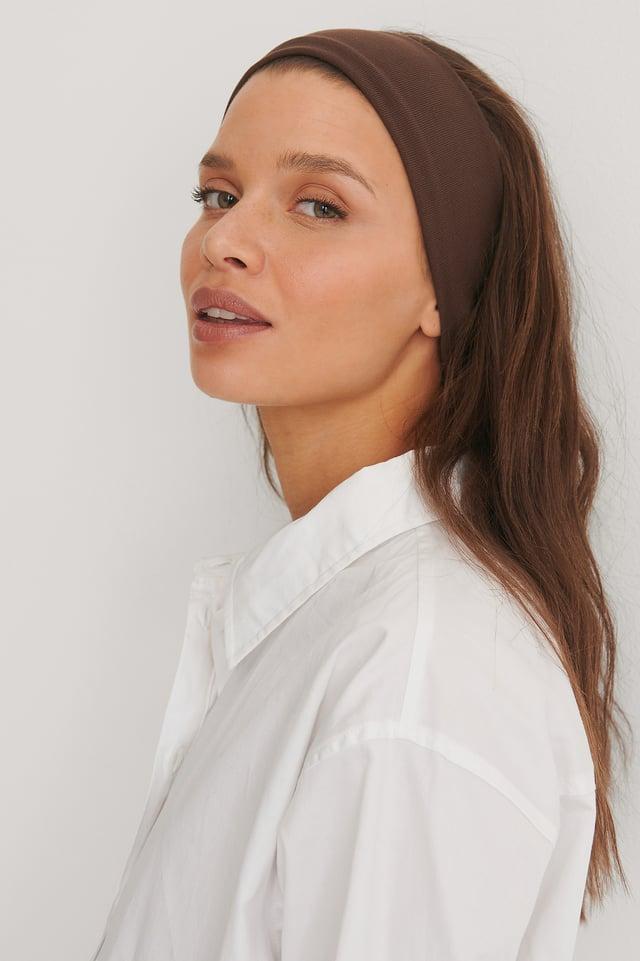 Brown Basic Jersey Headband