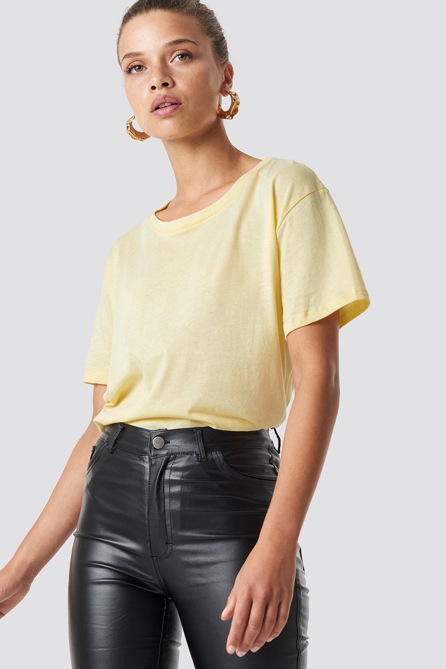 Yellow Tee-Shirt Surdimensionné Basique