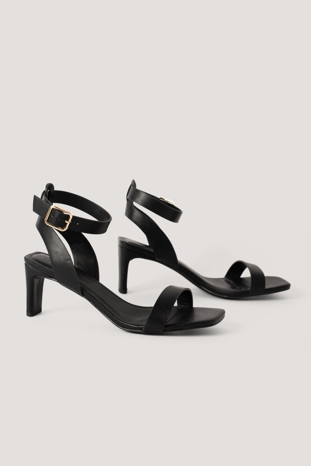 Black Basic Squared Heel Sandals