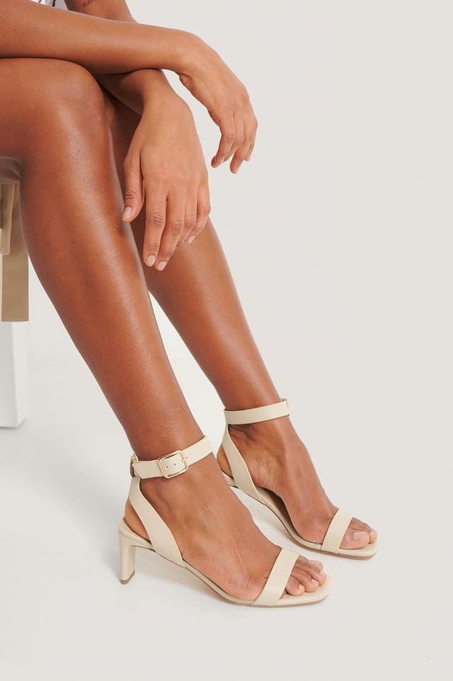 Natural Basic Squared Heel Sandals