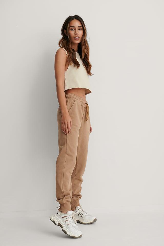 Pantalon De Survêtement Basique Beige