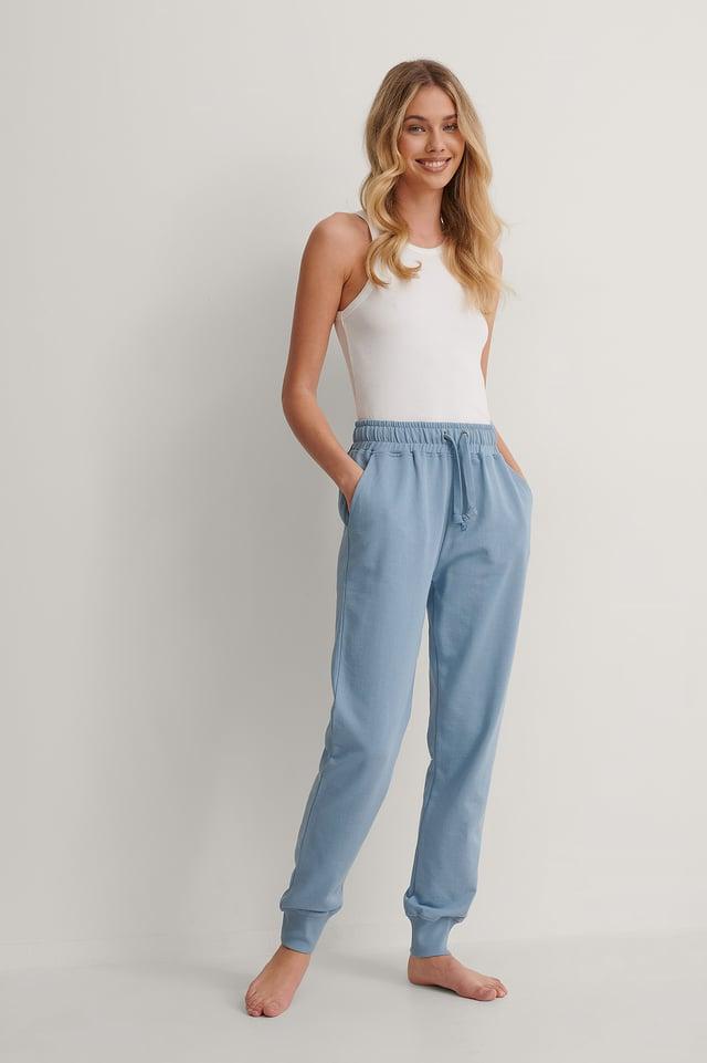 Faded Denim Pantalon De Survêtement Basique