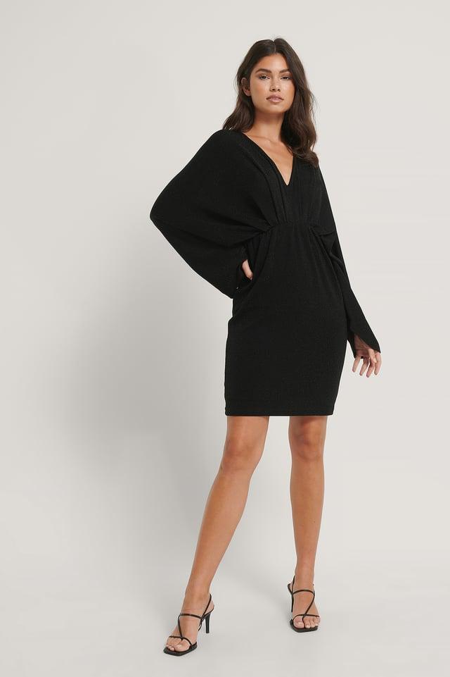 Robe Mini À Paillettes Manches Chauve-Souris Black