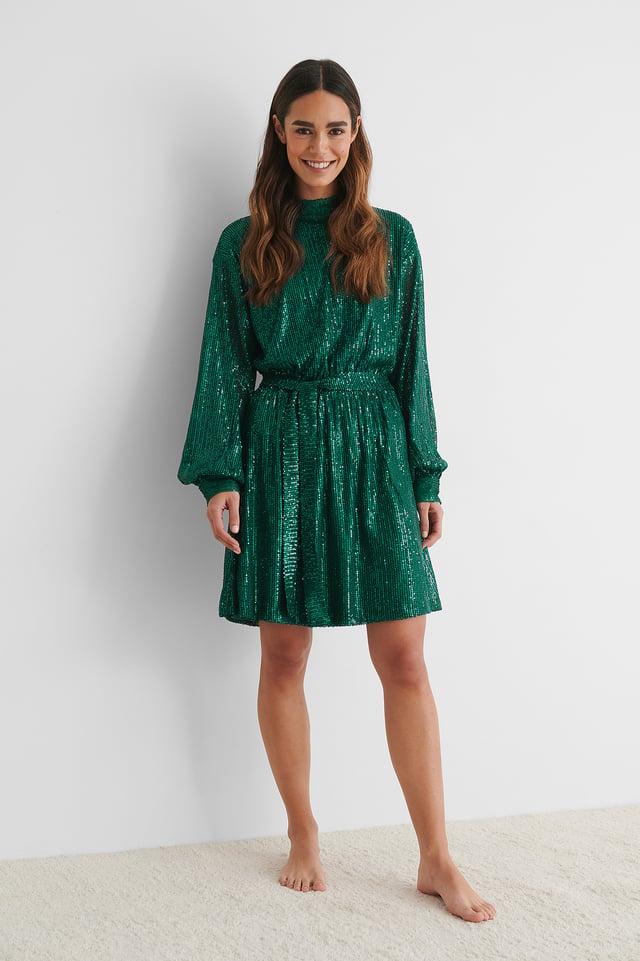 Robe Tout En À Paillettes À Manches Longues Green