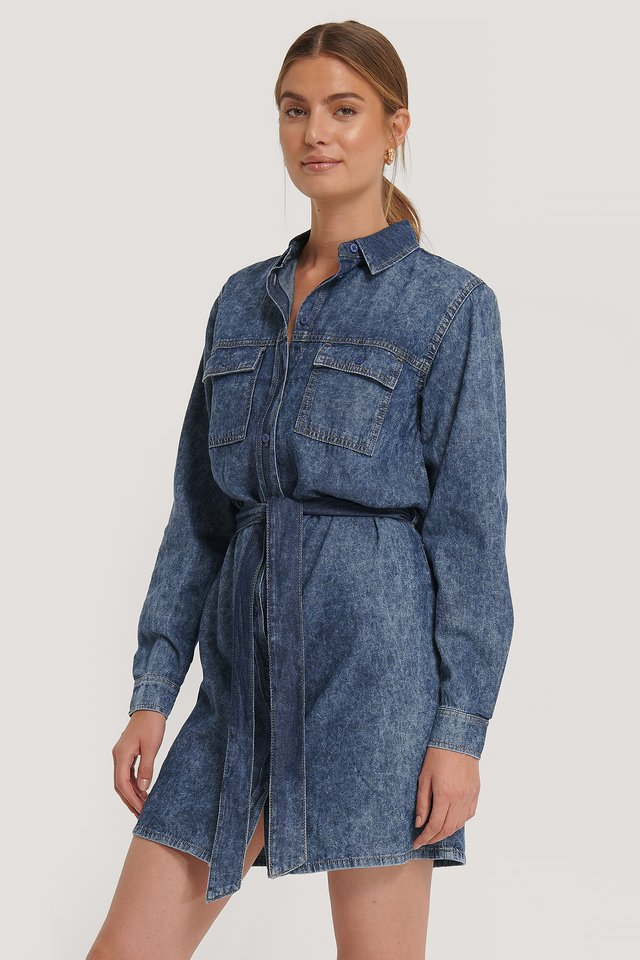 Belted Denim Dress Mid Blue