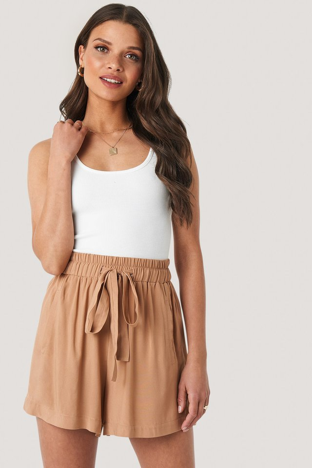 Belted Flowing Shorts Tan