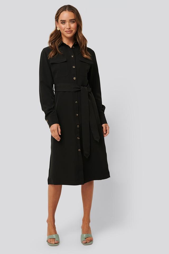 Belted Long Shirt Dress Black