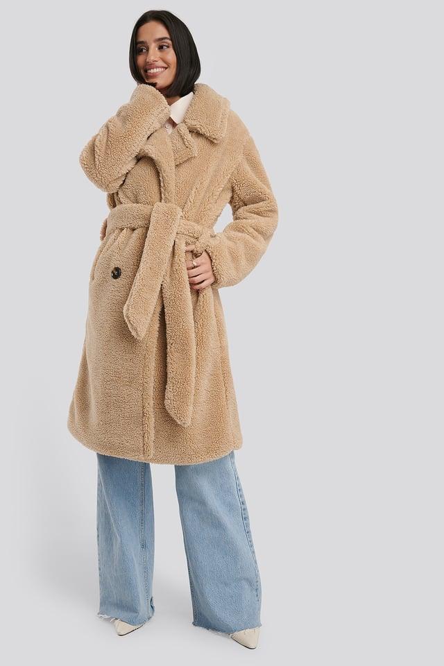 Belted Long Teddy Coat Beige
