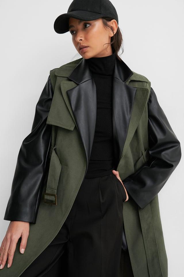Belted Long Vest Green