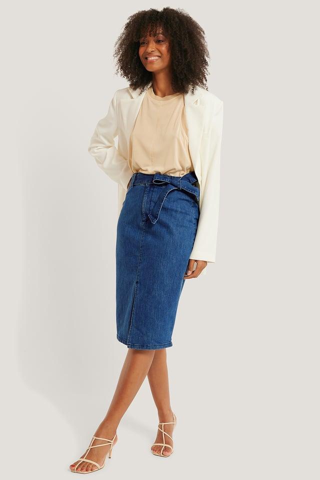 Belted Midi Denim Skirt Light Blue