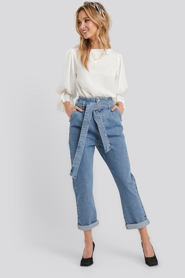 Light Blue Wash Belted Paperbag Turn Up Jeans