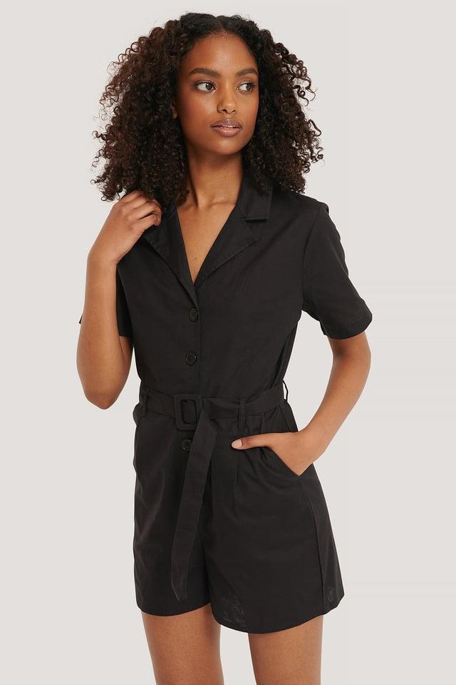 Belted Playsuit Black
