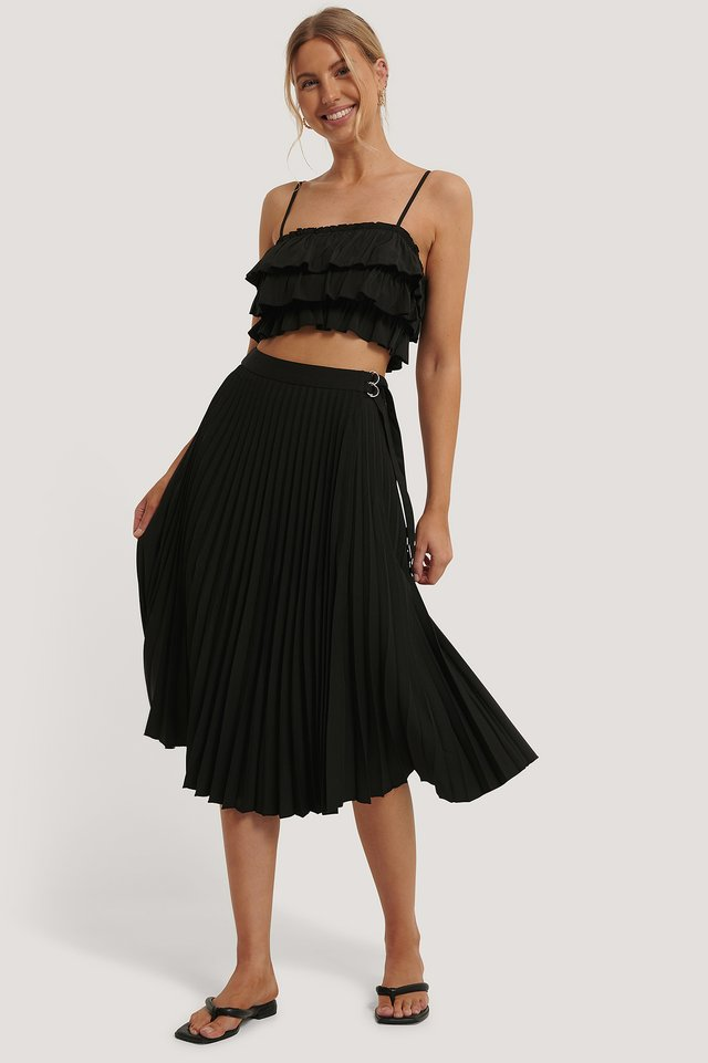 Belted Pleated Skirt Black