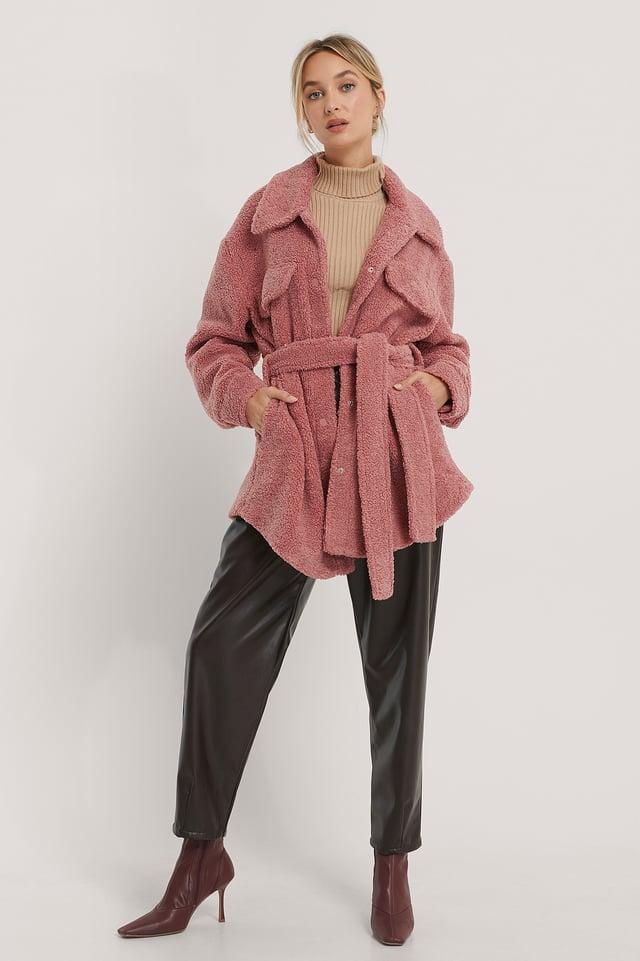 Veste En Peluche À Ceinture Dusty Pink