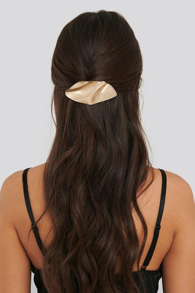 Pince À Cheveux En Métal Plié Gold