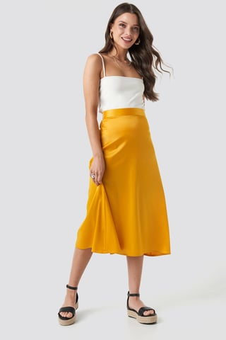 Yellow Bias Cut Satin Midi Skirt