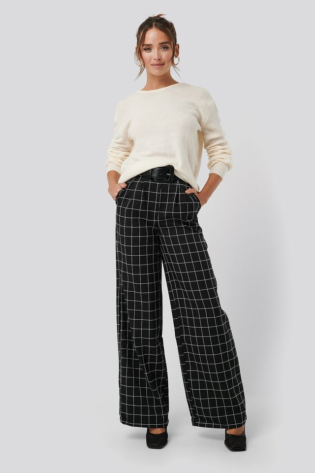 Big Check Wide Leg Pants Black/White Check