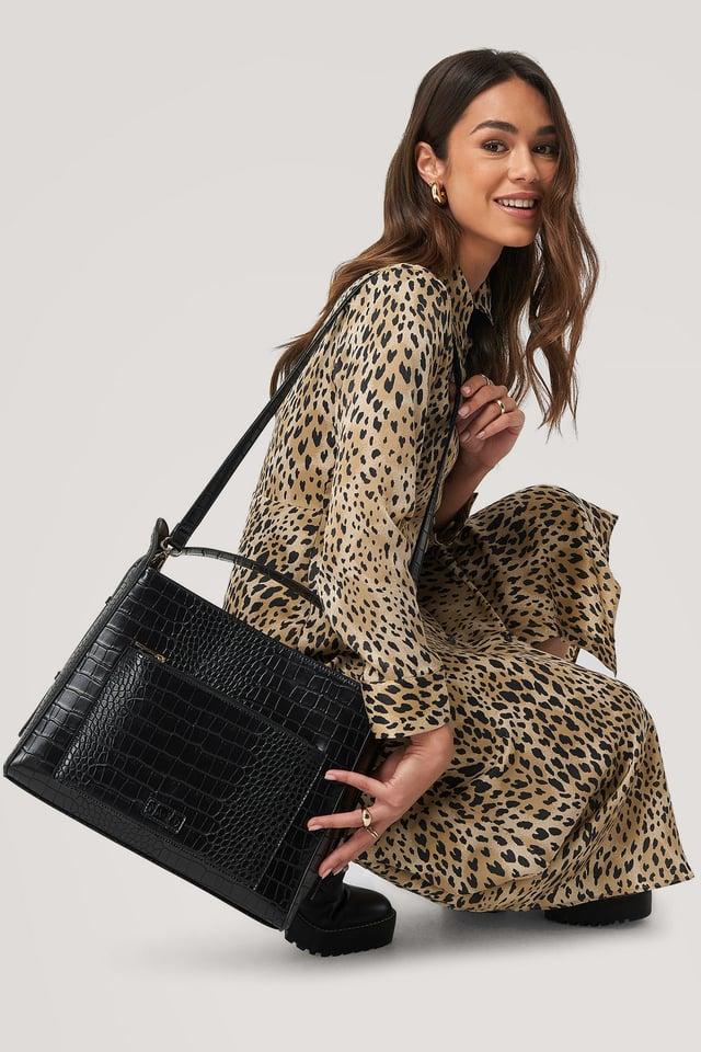Black Big Croc Shopper Bag