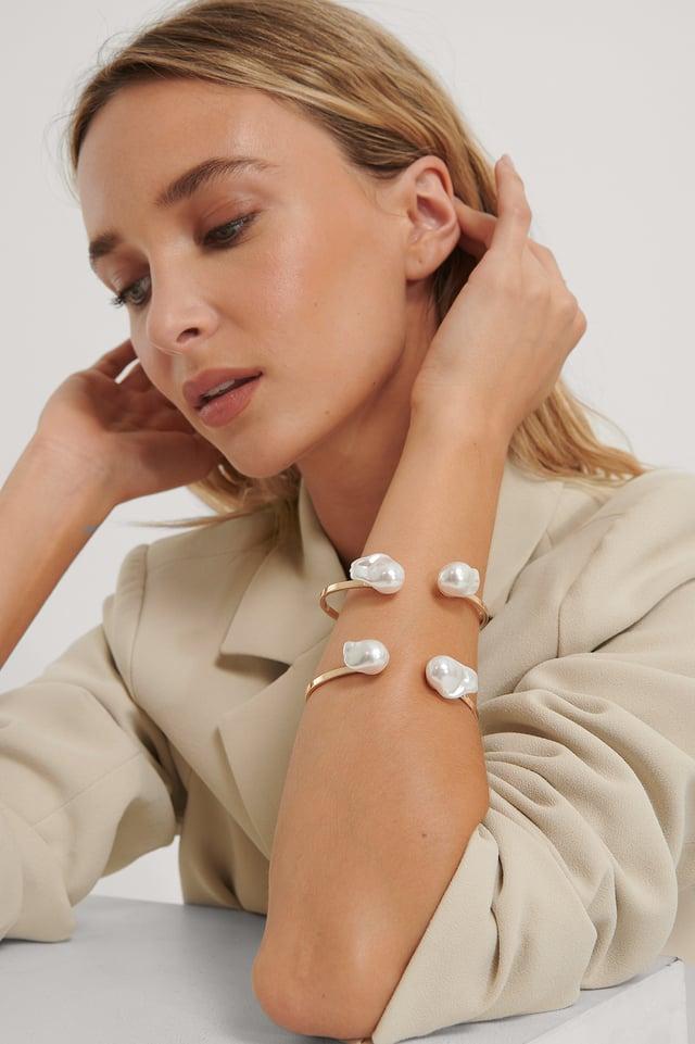 Bracelet Manchette À Grosse Perle Gold