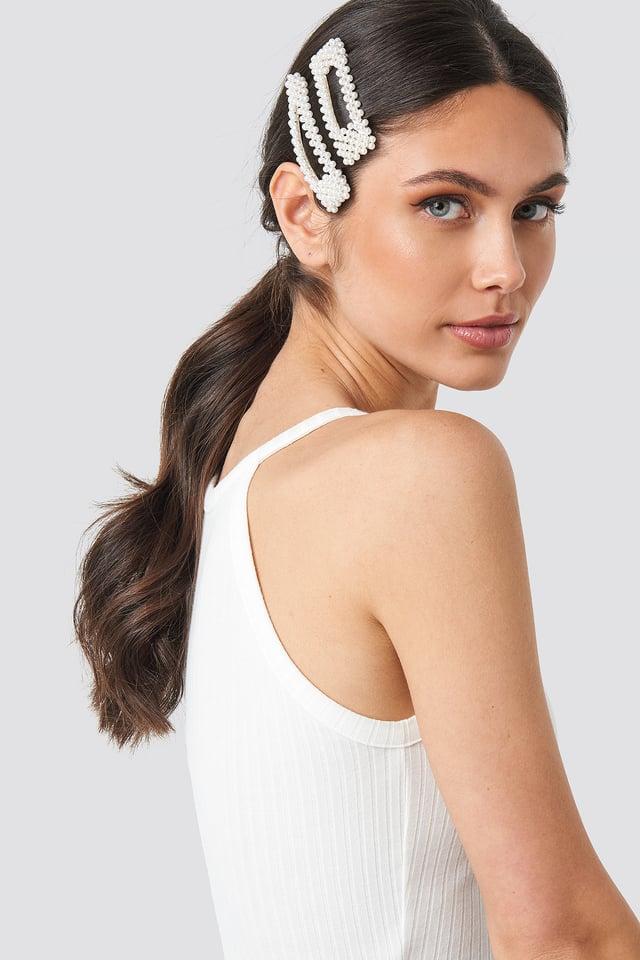 Big Pearl Hairclips White