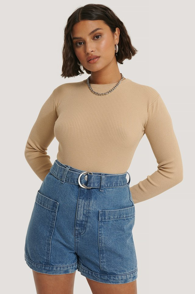 Mid Blue Short Taille Haute À Poches