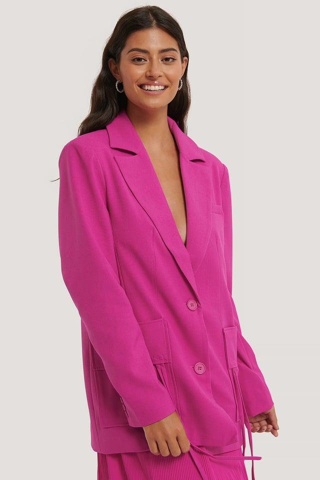 Blazer Surdimensionné À Grande Poche Strong Pink