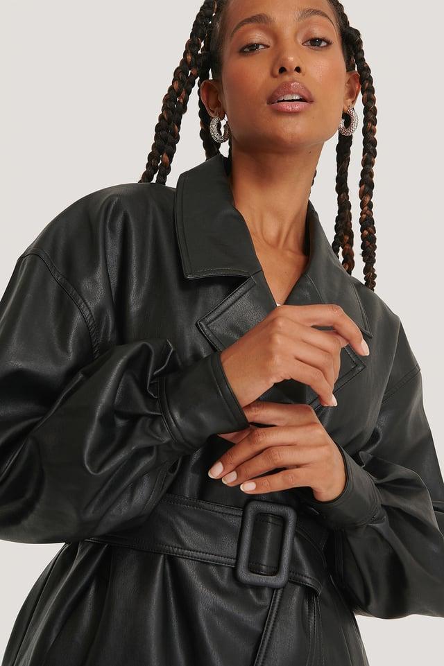 Veste En Faux Cuir Ceinturée À Manches Larges Black