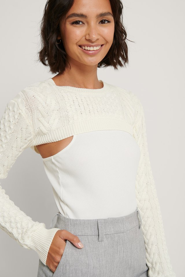 Biologique Pull Maille Off White