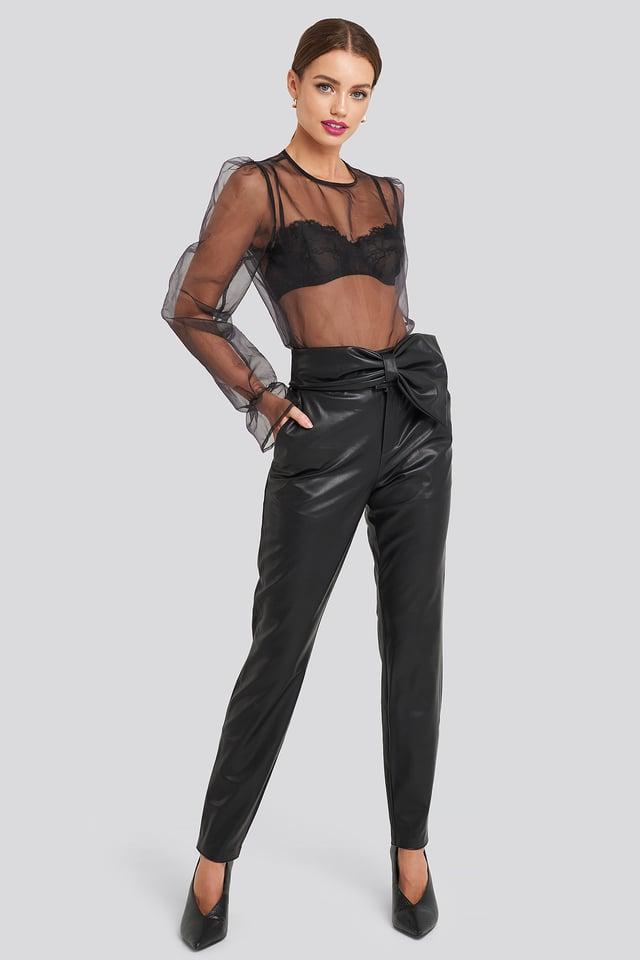 Bow Detail Faux Leather Pants Black