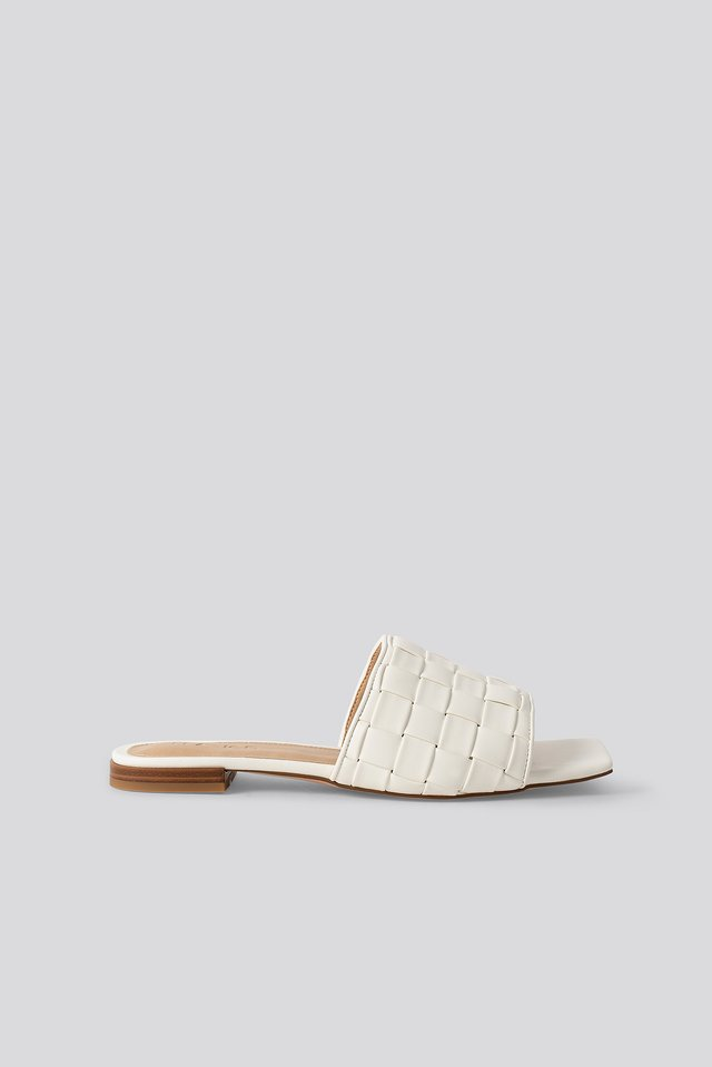 Braided Flats White