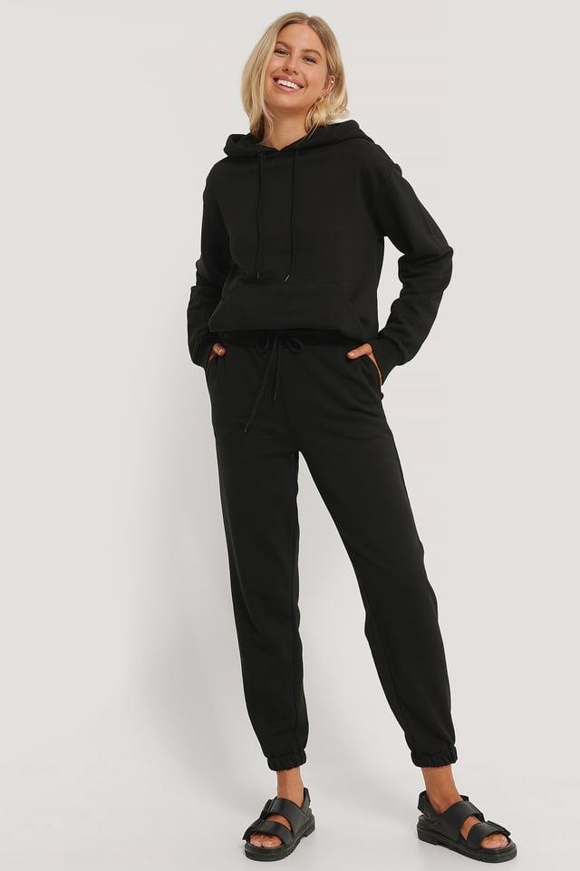 Biologiques Pantalon De Survêtement Brossé À Cordon Black