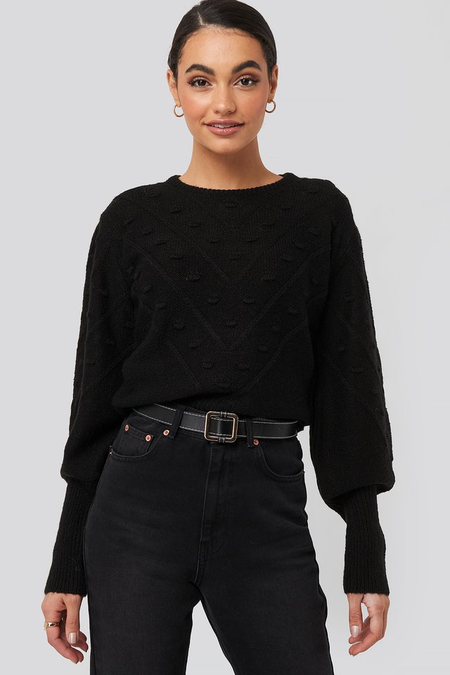 Bubble Detail Knitted Sweater Black