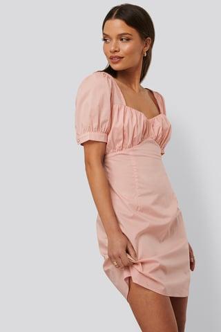 Dusty Pink Robe Mini À Manches Bouffantes