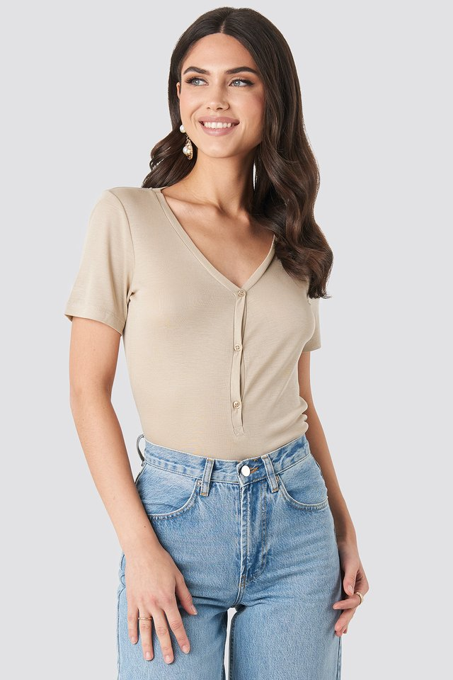 Beige Button Up Ribbed Top
