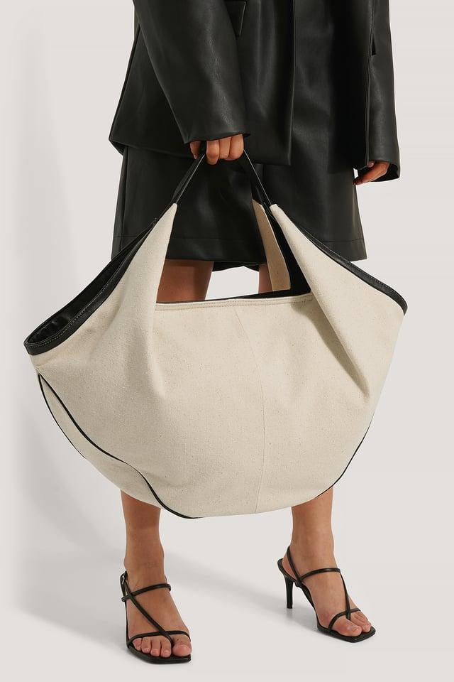 Black/White Canvas Contrast Shopper Bag