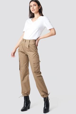 Beige Cargo Wide Leg Pants
