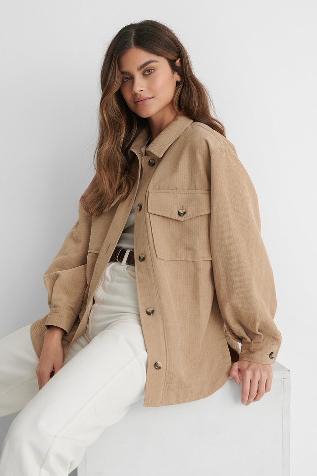 Beige Chest Pocket Corduroy Overshirt