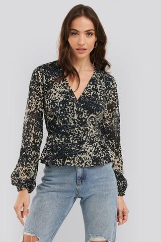 Leopard Chiffon Overlap Blouse