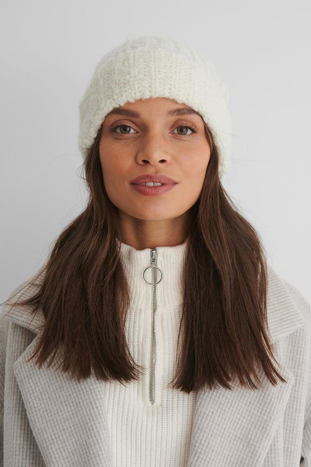 Offwhite Bonnet En Tricot Basique
