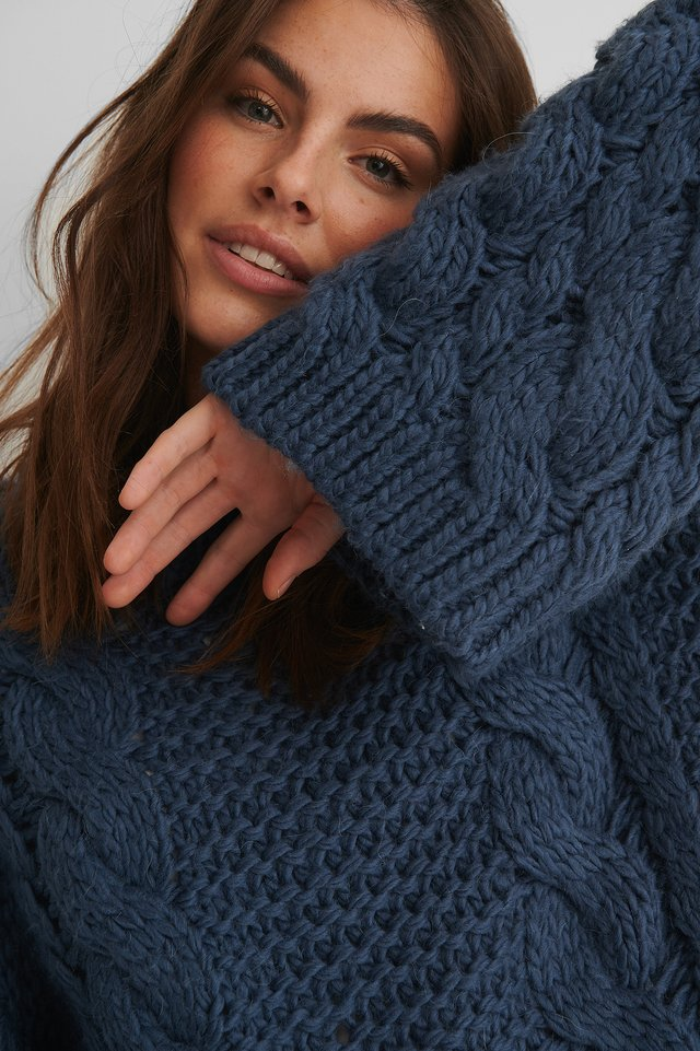 Stone Blue Chunky Cable Knitted Sweater
