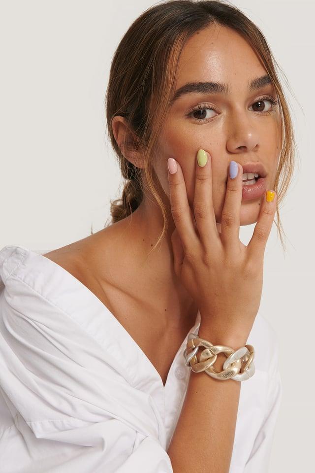 Silver/Gold Bracelet Épais Deux Tons