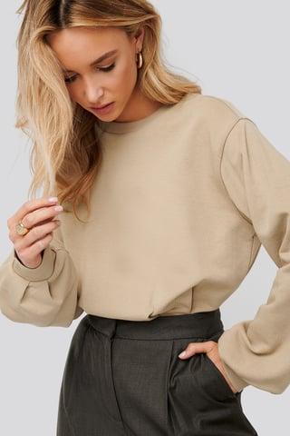 Beige Cinched Waist Sweatshirt Bodysuit