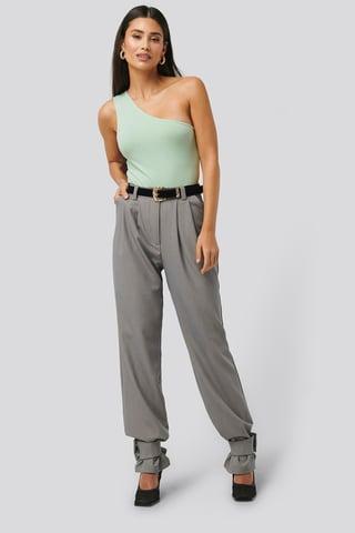 Grey Closure Suit Pants