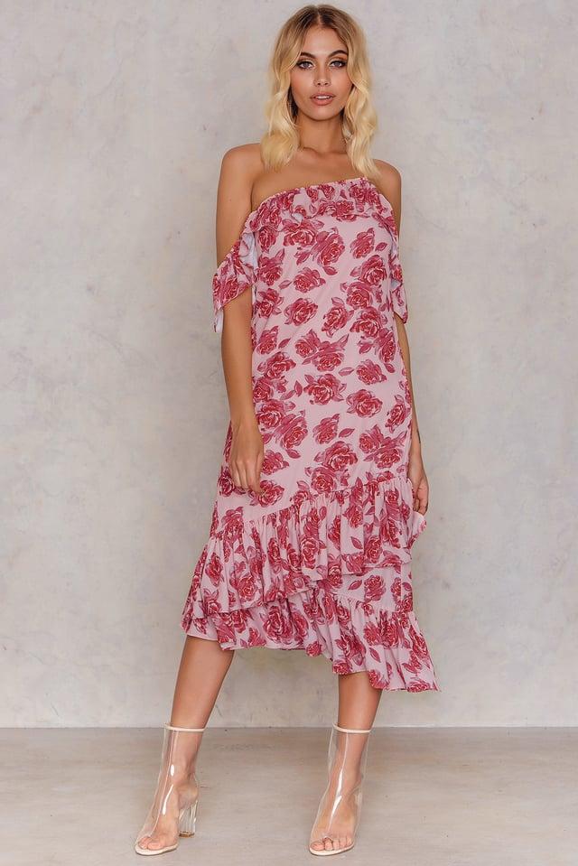 Cold Shoulder Thin Strap Frill Dress Pink Rose Print