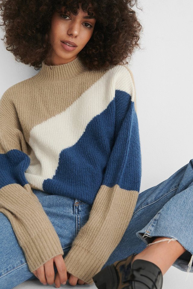 Pull Col Montant Beige/Blue